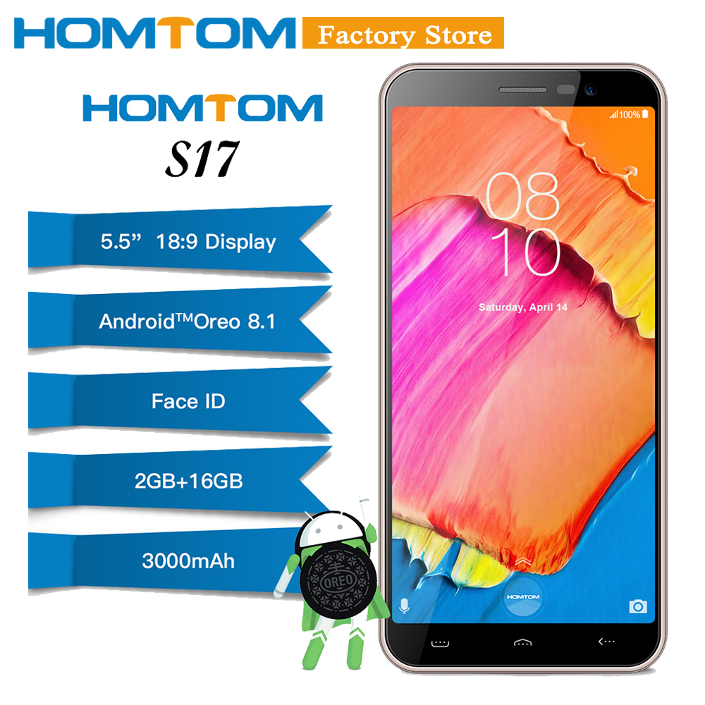 Homtom S17 2GB RAM 16GB ROM Mobile Phone 3000mAh Face ID Android8 1 MT6580 Quad Core