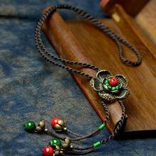 Длинное винтажное ожерелье макси, Женская Бронзовая Подвеска в виде цветка, веревка, красный натуральный камень, Висячие модные ювелирные изделия, горячее предложение