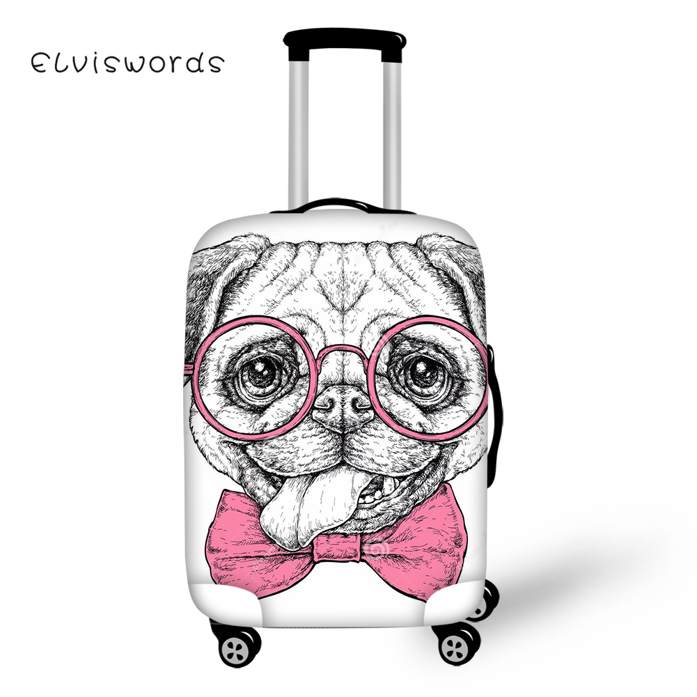 ELVISWORDS Cute Pug Dog Luggage Cover for Suitcase Protective Covers Stretch to 18 39 39 30 39 39 Case Dust Protector Travel Accessories in Travel Accessories from Luggage amp Bags