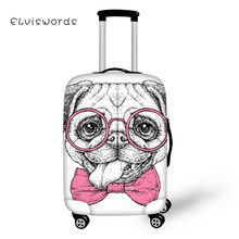 ELVISWORDS Cute Pug Dog Luggage Cover for Suitcase Protective Covers Stretch to 18-30 Case Dust Protector Travel Accessories