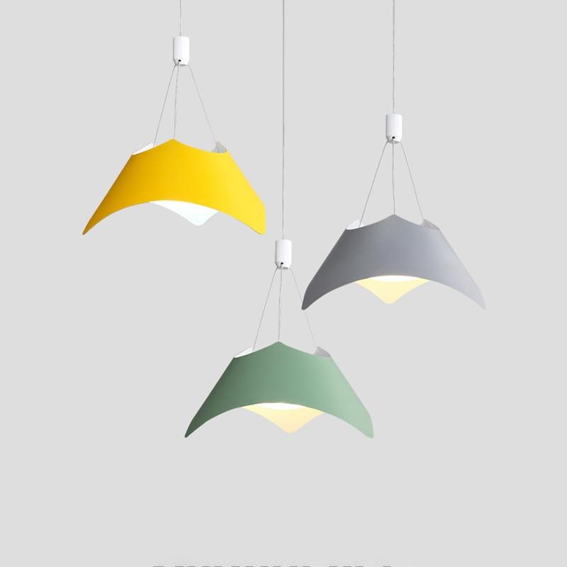 Macaron modern simple pendant lights aluminum shade colorful kids room study foyer lighting decoration droplight free shipping