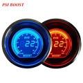 """EE apoio 2 """"52mm Azul LED Vermelho Luz Universal Acessórios Do Carro Relógios Digitais PSI Turbo Boost Medidor de Vácuo XY01"""