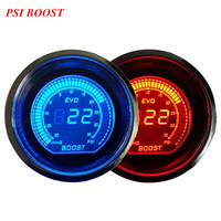 EE support 2 52mm Blue Red LED Light Universal Car Accessories Digital Clocks PSI Vacuum Turbo Boost Gauge XY01
