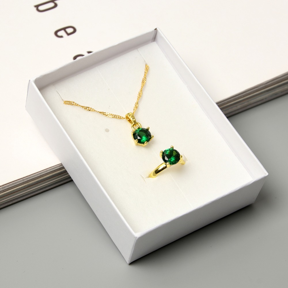 JUJIE Fashion Crystal <font><b>Jewelry</b></font> <font><b>Sets</b></font> <font><b>For</b></font> Women <font><b>2019</b></font> New Water Drop Necklace Ring <font><b>Jewelry</b></font> Dropshipping image