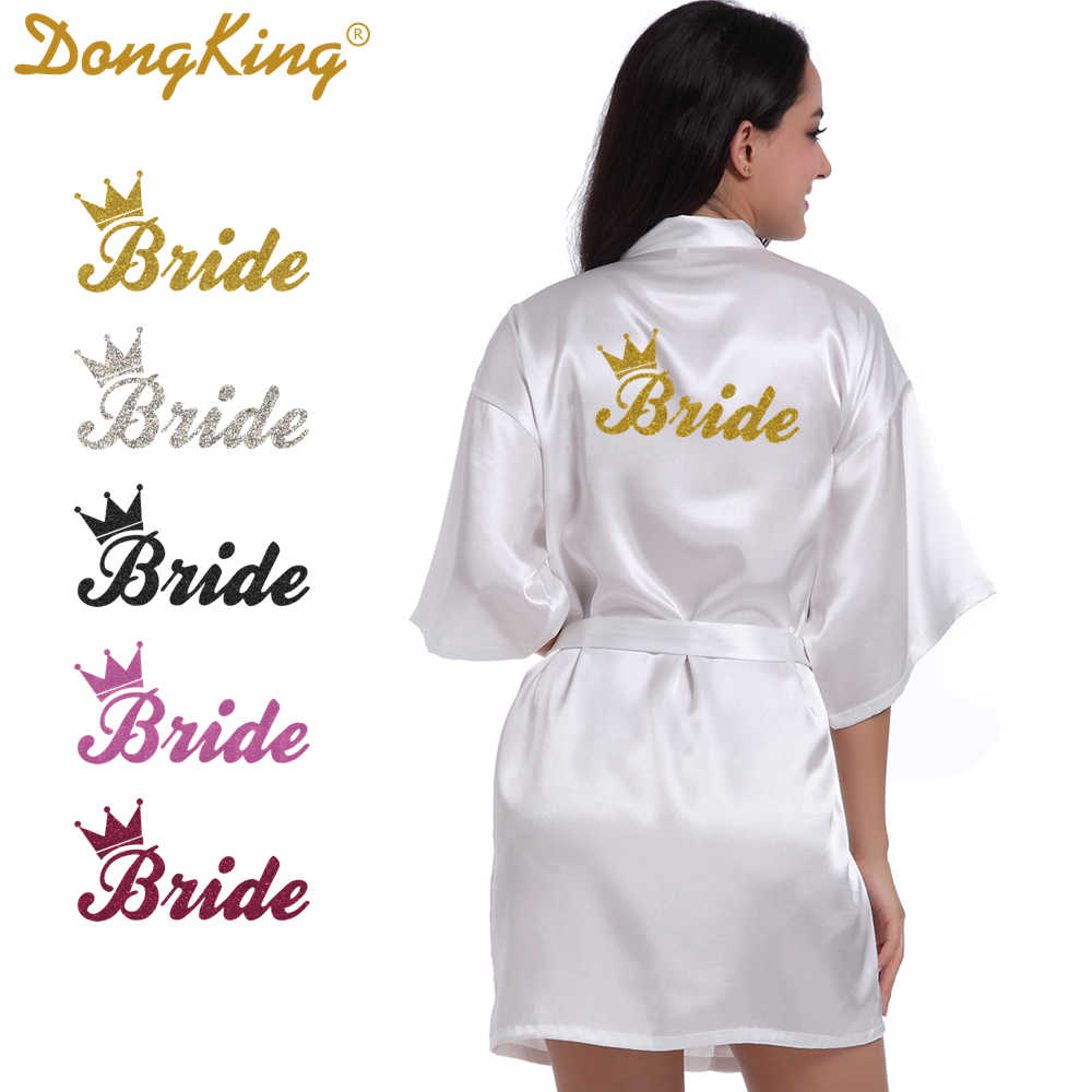 DongKing Bride Crown Robe Golden Glitter Print Kimono Robes Wedding Gift  Faux Silk Bachelorette Bride Robes 5b6c90f2d