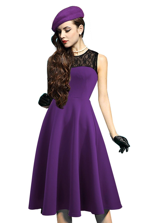 MisShow nueva llegada negro encaje Floral impreso Vintage vestido ...