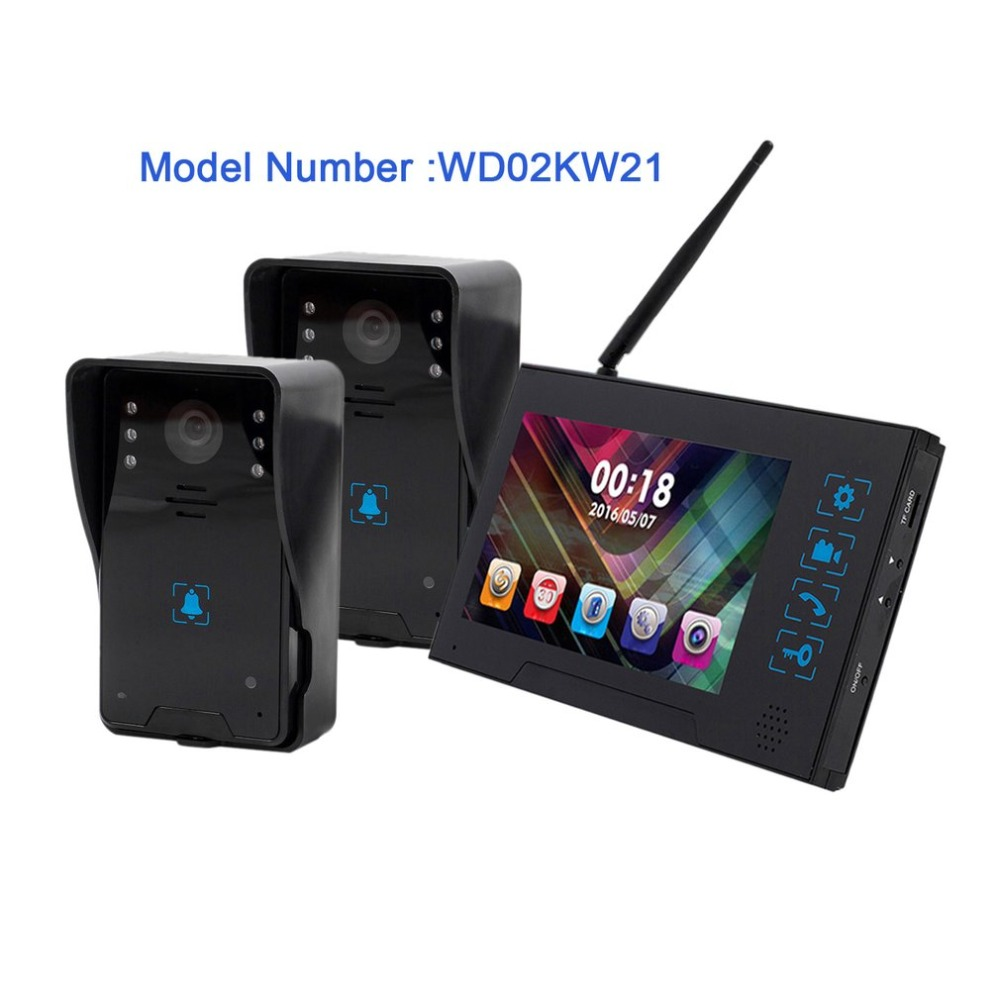 5V 7-Inch TFT Screen Wireless Visual Doorbell Infrared Night Vision Doorbell Video Intercom Door Phone Home Security ...