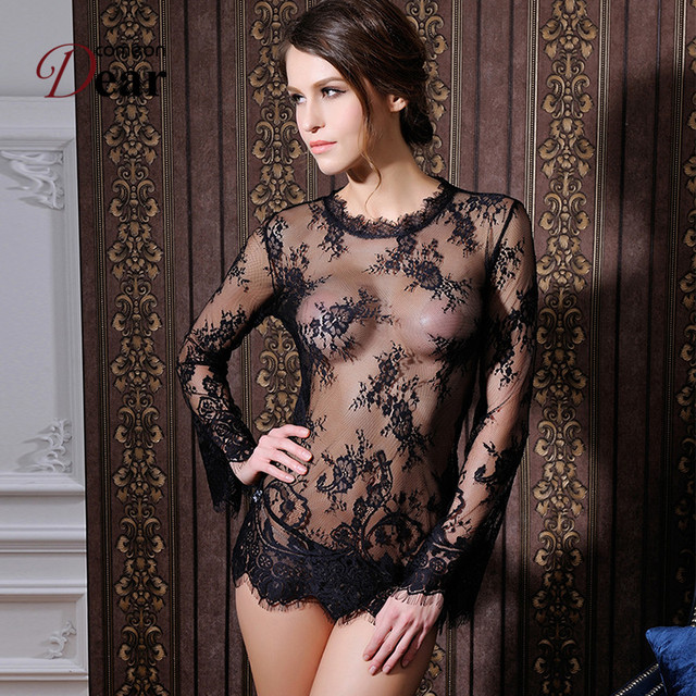 RK80215 Comeondear Lenceria Womens Sexy Dresses Erotic Black Transparent Sexy Underwear Women Long Sleeve With G string Lingerie