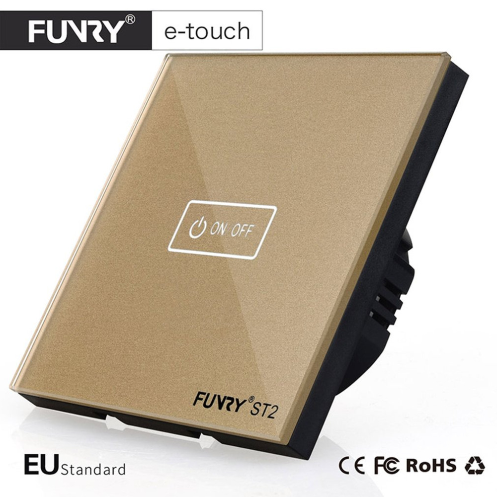 FUNRY ST2-1 EU Intelligent Crystal Glass Panel Smart Remote Control Touch Switch Waterproof Shiny Panel LED Wall Touch Switch funry st1 us 3gang light smart switch crystal glass panel wireless touch remote control 110 240v surface waterproof interruptor