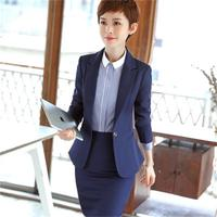 Professional women fashion business formal slim long sleeved suit jacket skirt ladies large yards work clothes two sets of blue
