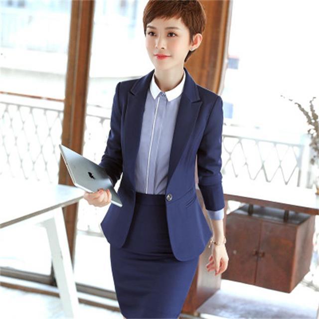933d832ecf84c8 Professionelle frauen mode business formale dünne langärmeligen anzug jacke rock  damen große yards arbeitskleidung zwei sätze von blau