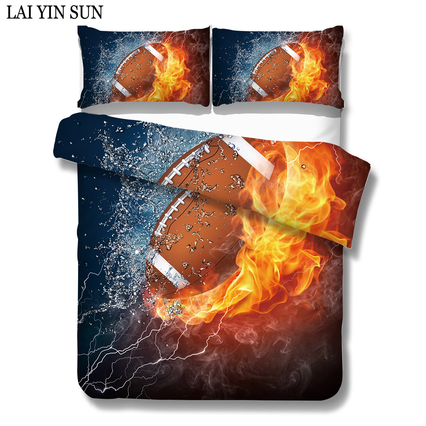Lai Yin Sun Colored Rugby fire Bedding Set King Size Luxury Print Bedclothes 3D Universe Duvet Cover 3PCS Dropshipping