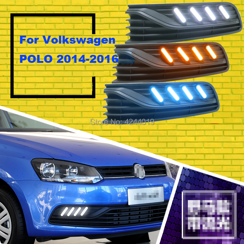 Fits 2014-2016 Volkswagen Polo Day Light Fog Lights Fog Lamps LED Driving Light DRL Daytime Running Lights Yellow Turn Signal 1 set led daytime running lights front driving fog lamps drl for subaru forester 2014
