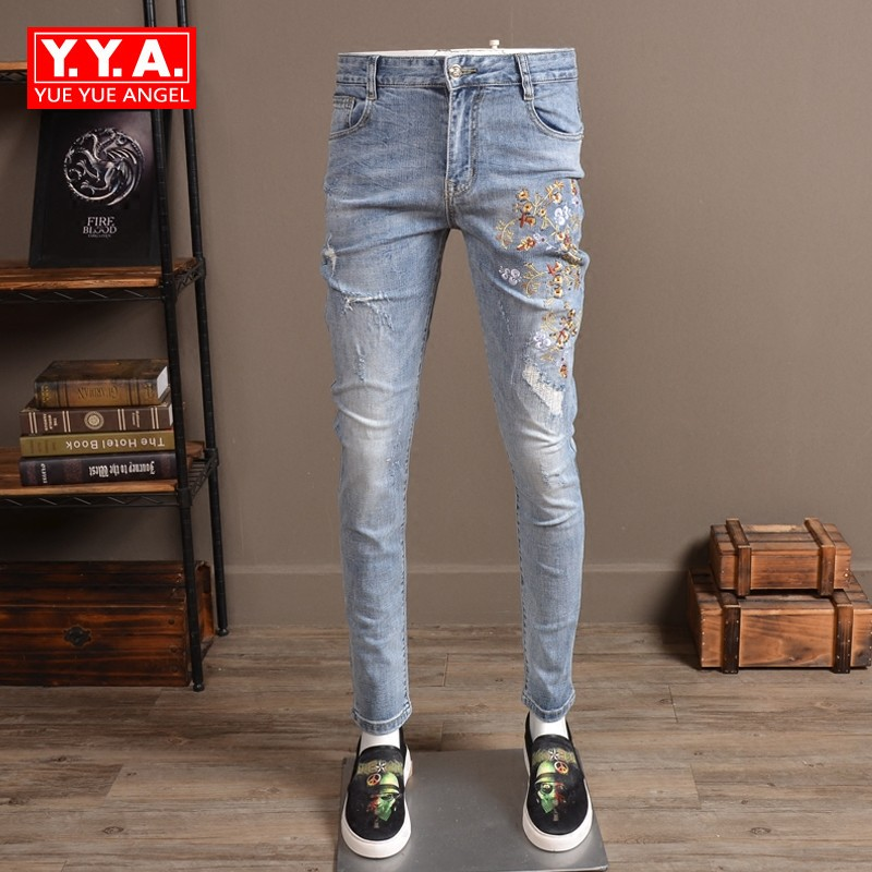 Male Fashion 2018 Spring Pencil Pants Men Full Length Slim Fit Embroidery Jeans Man Casual Streetwear Hole Ripped Jean For Mens