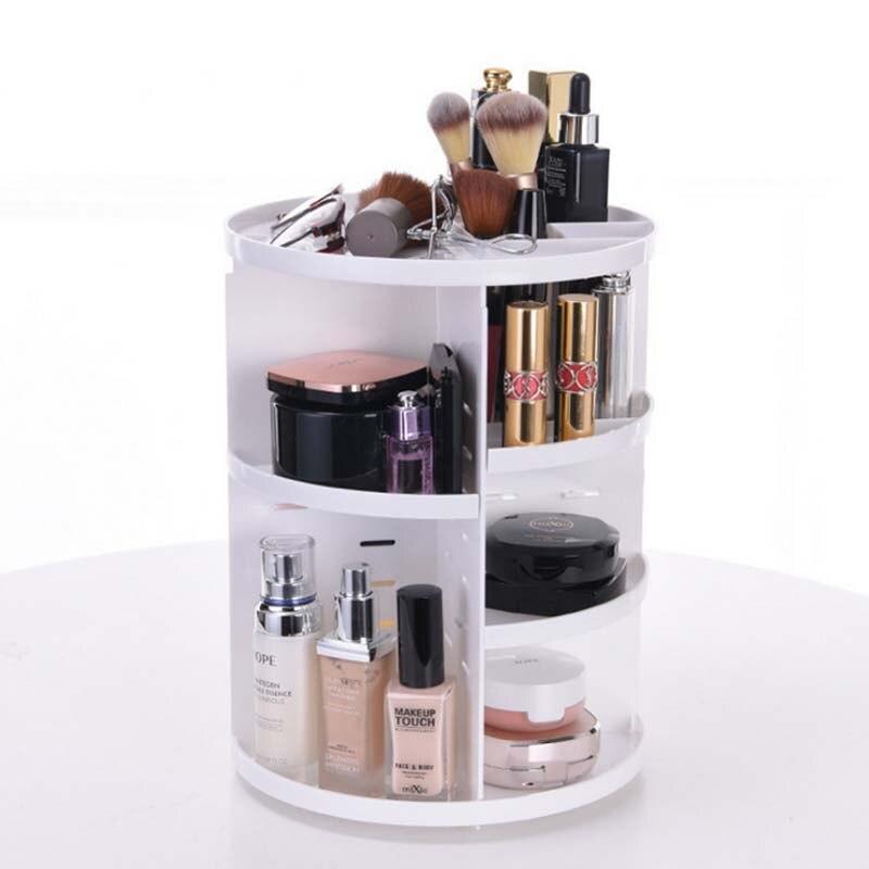 Batom branco rotativo 360 graus 1 peça, caixa para armazenamento de cosméticos, organizador de maquiagem, joias, expositor