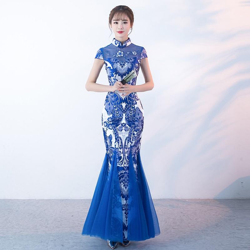 New Cheongsam Chinese Etiquette Cheongsam Costume  Long Slimming Fishtail Cheongsam Dress for Adult Women Stage Performance
