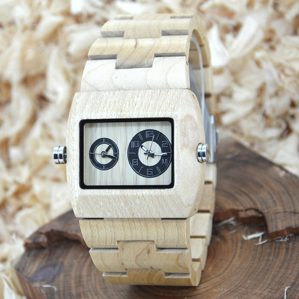 BEWELL Mens Dual Time Zone Watch Men Luxury Brand Watch Rectangle Man Wood Rectangle Case Wooden Quartz-watch 021C bewell multifunctional wooden watches men dual time zone digital wristwatch led rectangle dial alarm clock with watch box 021a