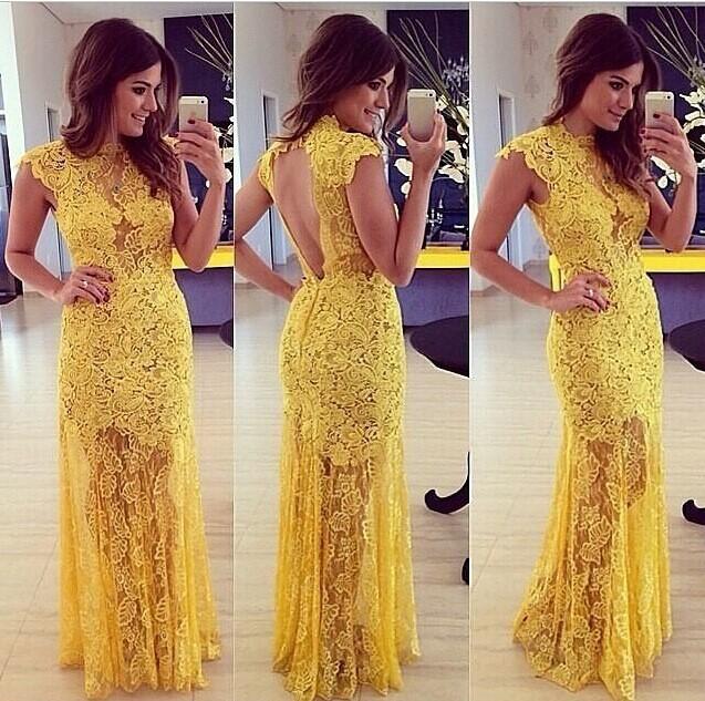 05fa72b00 Aliexpress India Fashion Clothes Women Sexy Backless Lace Croche Long Maxi  Dresses Yellow Mermaid Dresses Vestido Amarelo Longo