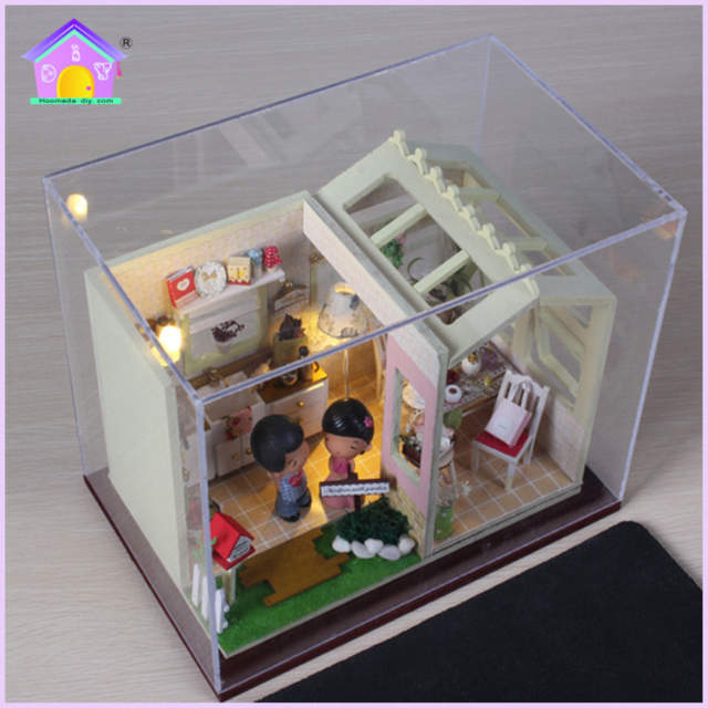 Diy Sweet Kitchen Small And Medium Sized Wooden Doll House Furniture Toy Model Doll House Children Kids Boys Girls Birthday Gift
