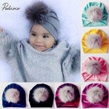 Новинка года, брендовые шапки для новорожденных, маленьких девочек и мальчиков, меховые шарики, тюрбан, бархатная шапка, шапка с меховыми помпонами, теплая шапка, подарки для малышей, 7 цветов