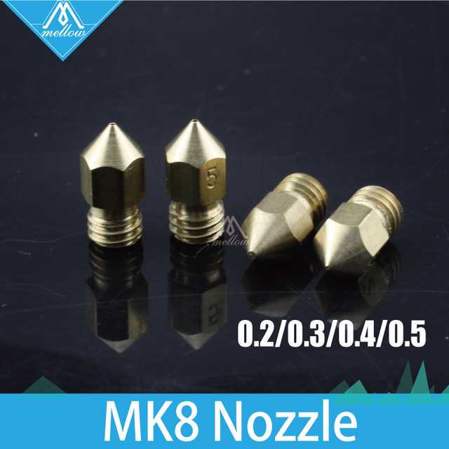 5pcs Reprap i3 3D Printer Brass M6 Nozzle 0.2/0.3/0.4/0.5mm Extruder  For 1.75MM MK8 Makerbot Creality 3D CR-10 CR-10S ender-3