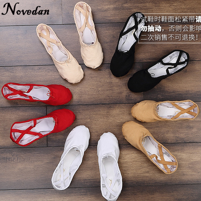 Canvas Flat Slippers White Pink Red Ballet Shoes For Girls Children Woman Yoga Teacher Gym Pointe Dance Shoes Modern Design