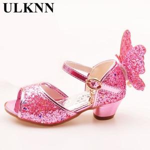 Image 4 - ULKNN/сандалии для девочек; розовые туфли для латинских танцев со стразами и бабочками; От 5 до 13 лет 6; летние туфли принцессы на высоком каблуке для детей 7 лет