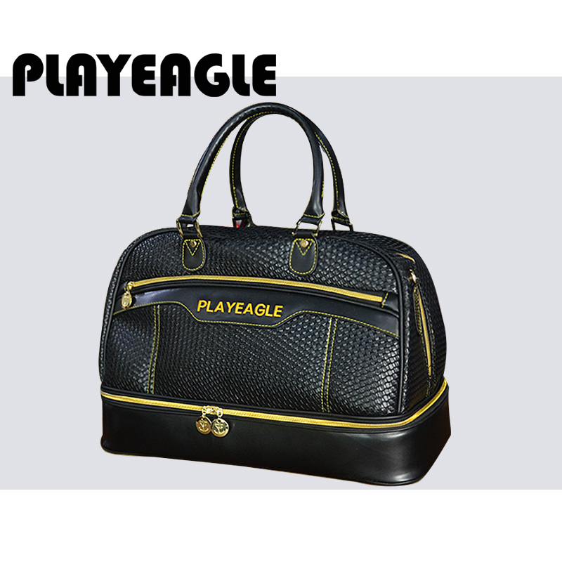 5737b530ae PLAYEAGLE 2018 New Waterproof PU Leather Golf Boston Bag 3D OEM Logo Black  Large Capacity Travel Laundry Bag with Shoes Package