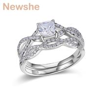 Newshe 1 Carat AAA Princess Cut Zirconia Solid 925 Sterling Silver Wedding Engagement Ring Set Jewelry