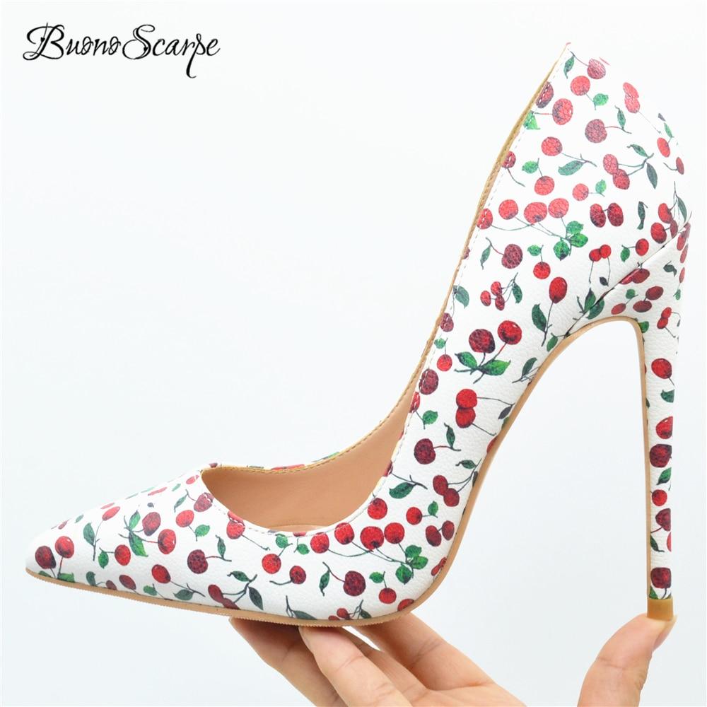 BuonoScarpe Women Printed Cherry High Heels 12CM Thin High Heel Pumps Shallow Mouth Pointed Toe Lady
