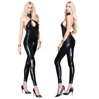 Sexy Wetlook Faux Leather Jumpsuit for Women Halter Backless Bodysuit Overall Black Gothic Catsuit Jumpsuits Pole Dance Costume