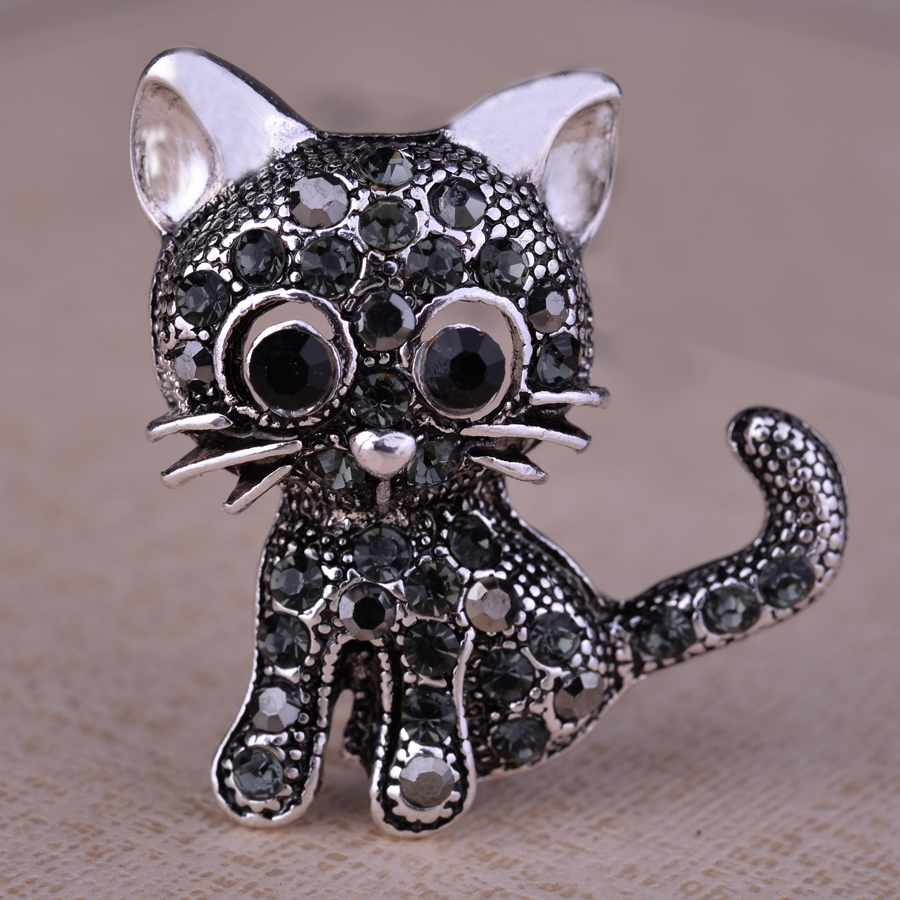Cute Little Cat Brooches Pin Up Jewelry For Women Suit Hats Clips Antique Silver Plated Corsages Brand Bijoux Bijouterie XZ043