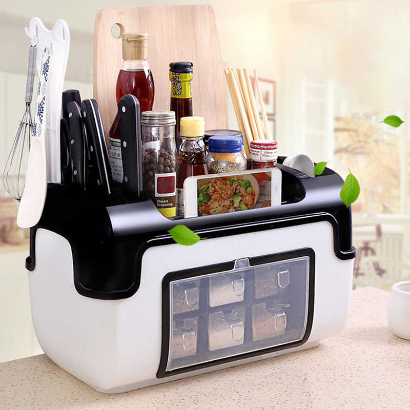 Kitchen Storage Shelves Spice Seasoning Boxes Bottles Racks Holders Organizer Knife Gadgets Chopsticks Tools Accessories Items