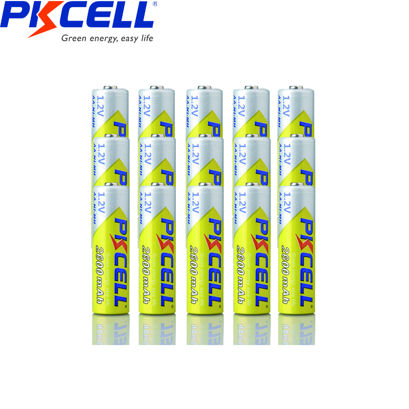 15pcs pkcell NiMH battery AA 2300mAh to 2600mAh 1.2V Rechargeable Batteries for Camera Flashlight Toy etc