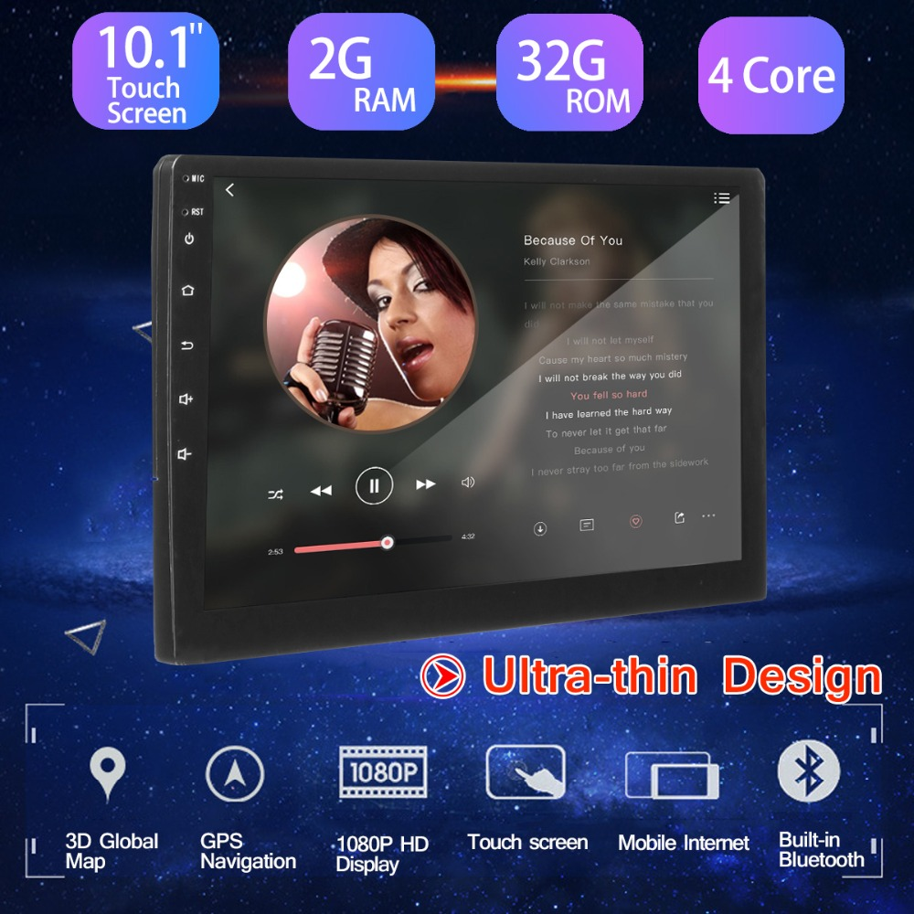 Car Stereo 2 din Car Multimedia MP5 Player 2G+32G 10.1 for Android 8.0 bluetooth WIFI GPS Nav Quad Core Radio Video Audio