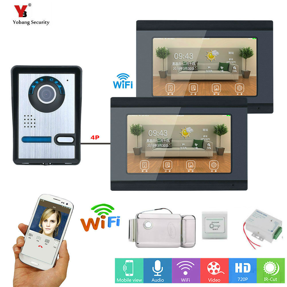 Yobang Security 7 Inch 2 Monitors Wired /Wireless Wifi Video Door Phone Doorbell Intercom System With Electronic Control Lock