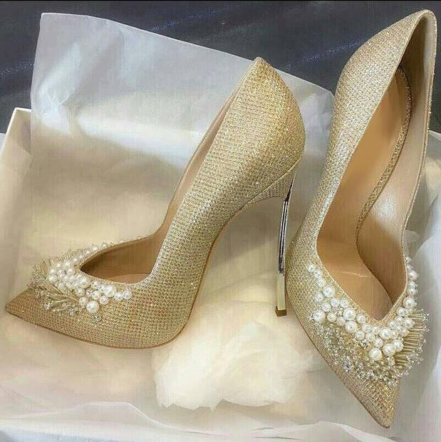 New Designer White Pearl Decor High-heels Pumps Gold Metal Heels String Bead Women Shoes Pointed Toe V-style Office Lady Shoes bigtree office lady dress shoes women high heels pointed toe solid string bead sandals concise slingback shoes stilettos 34 40