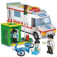 COGO 4124 Stad Ziekenhuis Ambulance Blok Fiets telefooncel Kid Speelgoed Enlighten Educatief Bouwstenen Kinderen Toys
