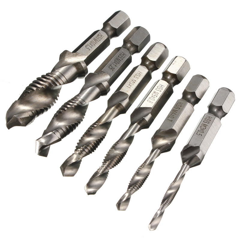 6Pcs HSS Drill Tap Countersink Drilling Deburr Set Metric Combination Drill Tap M3-M10 Top Quality 8 32mm 22pieces metric chrome vanadium crv quick release reversible ratchet combination wrench set gear wrench spanner