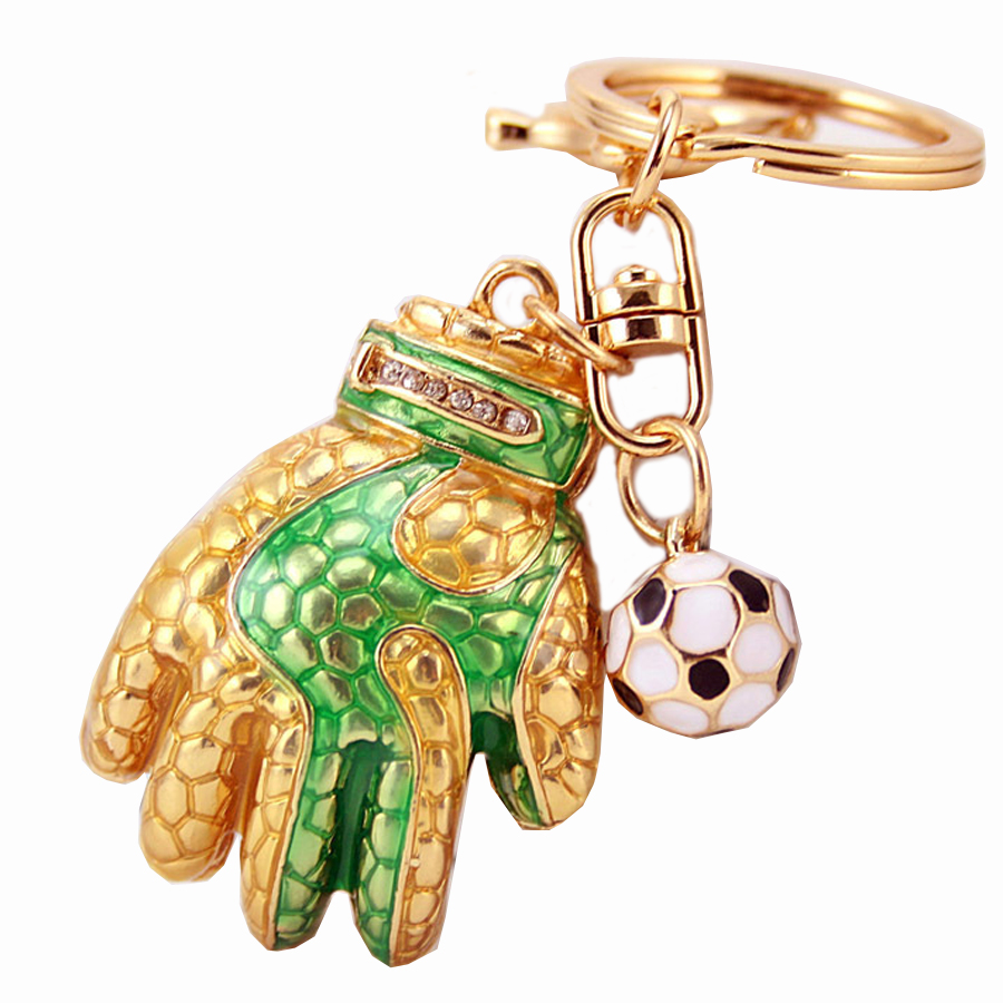 Creative Rhinestone Football Gloves Keychain Fashion Key Chain Ring Holder For Women Bag Purse Charm Gift Exquisite Keyfobs R194