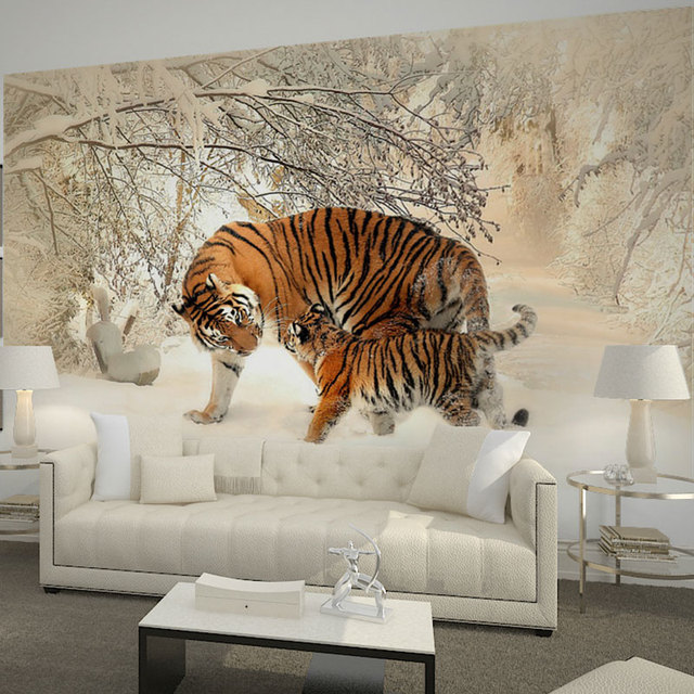 Home Decor Wall Papers Tiger Snow Tree Forest Photo Wallpaper Murals Living Room Bedroom Self Adhesive Vinyl Silk