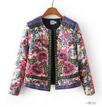 New 2016 Autumn Winter Women Outerwear Vintage Women Lady Ethnic Floral Print Embroidered Short Jacket Slim Parkas Coat XQ1901