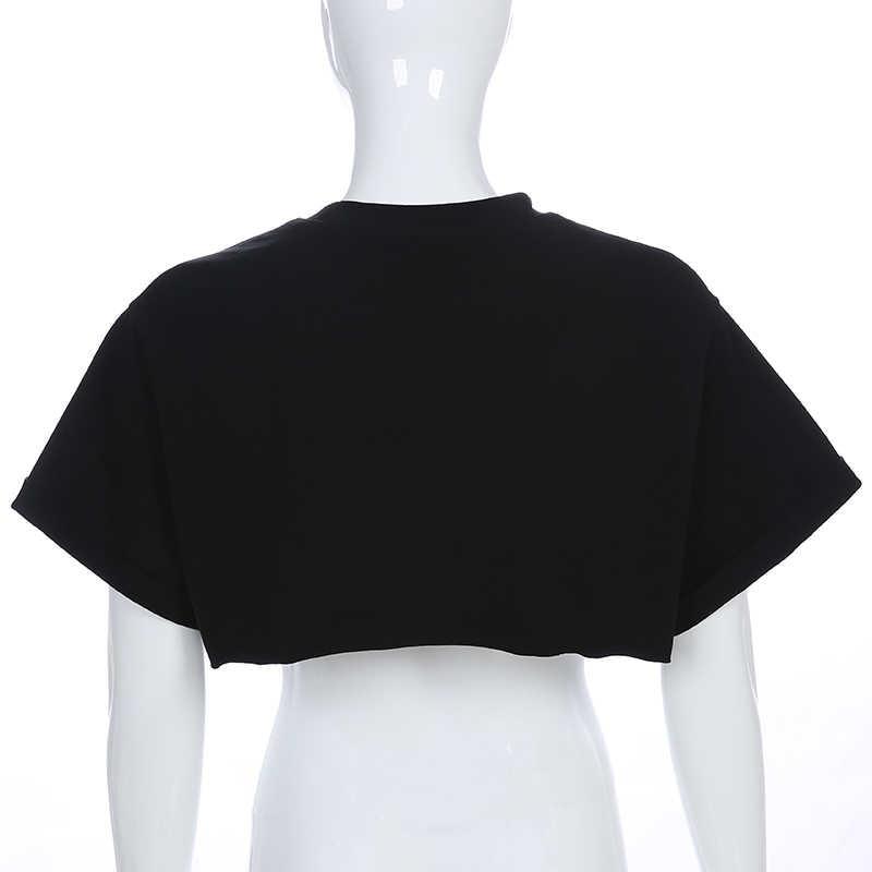 HEYounGIRL Harajuku פאנק קצר שרוול חולצה נשים Loose מקרית מודפס נשים חולצת טי למעלה שחור כותנה יבול למעלה T חולצה קיץ