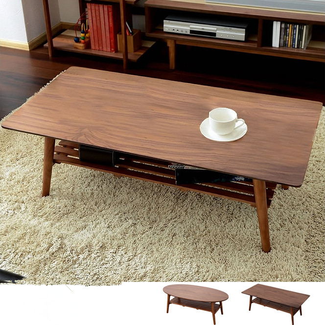 Modern Center Table Leg Foldable Walnut Finish Rectangle Oval 100cm Living Room Furniture Wooden Coffee