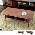Mesa De Centro moderna Pierna Plegable Acabado Nogal Rectángulo/Oval 100 cm Muebles de Sala de estar Mesa De Centro De Madera Con El Almacenamiento estante