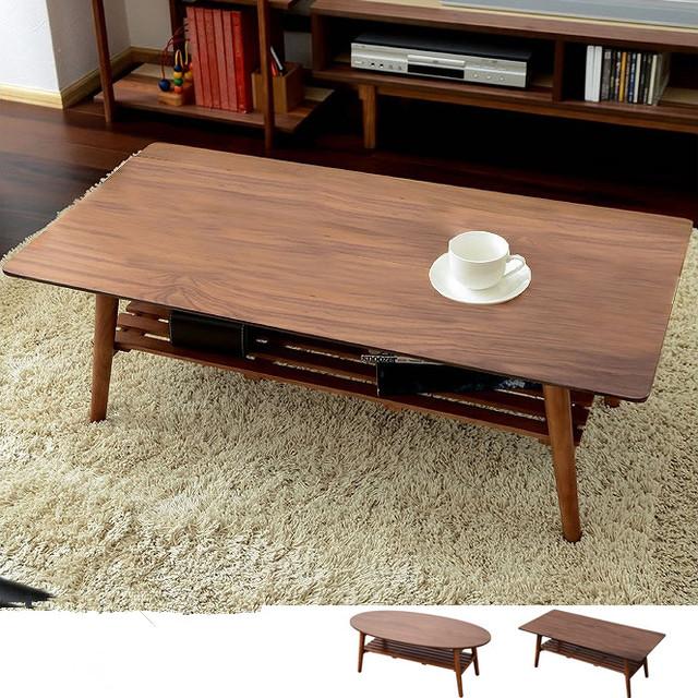 Perna Da Mesa de Centro moderno Dobrável Walnut Acabamento Retângulo/Oval 100 cm Mobília da Sala de estar Mesa De Café De Madeira Com Armazenamento prateleira