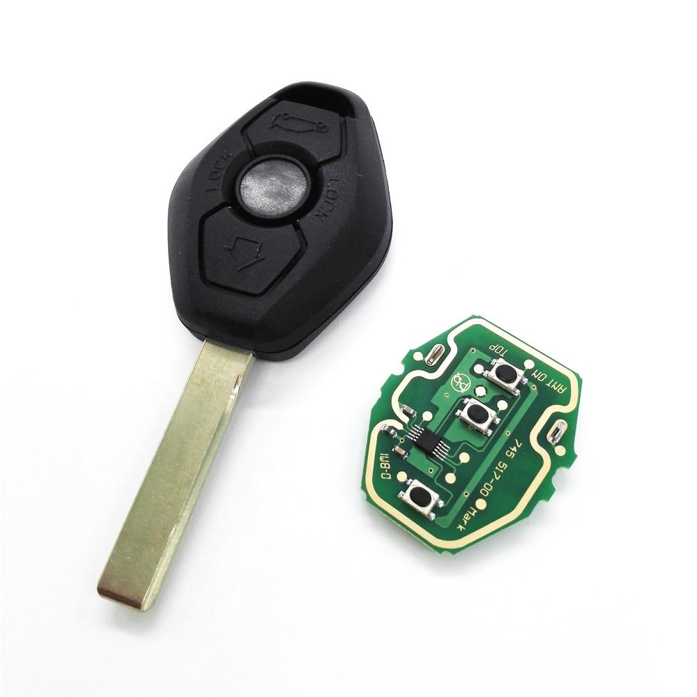 Prix pour 315/433 MHZ Sans Clé Télécommande Clé Cas Fob 3 Boutons pour BMW X3 X5 EWS Système avec Uncut lame et Logo