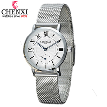 CHENXI New Discount Promotion Stainless Steel Mesh Belt Female Models Fashion Roman Dial Quartz Watch Women Watches lady Relogio