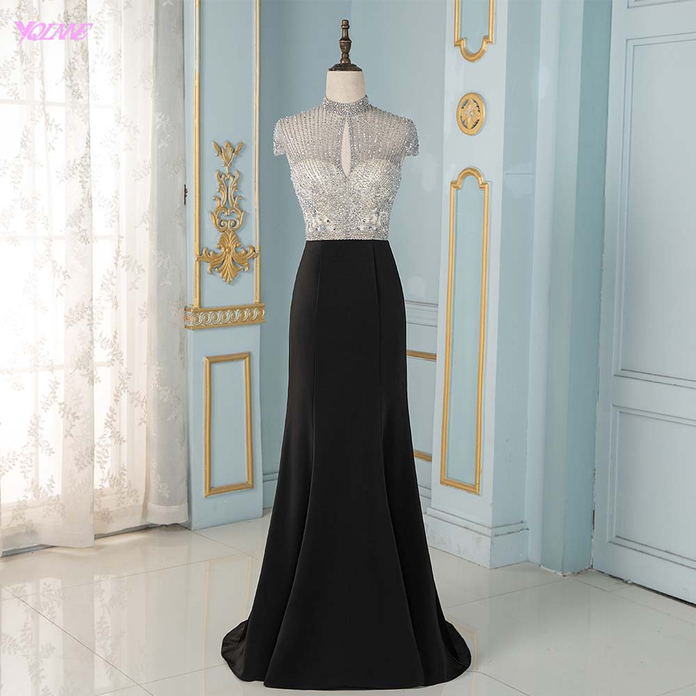 Black Crystals Mermaid Evening Dresses Long Cap Sleeve Formal Evening Gown YQLNNE