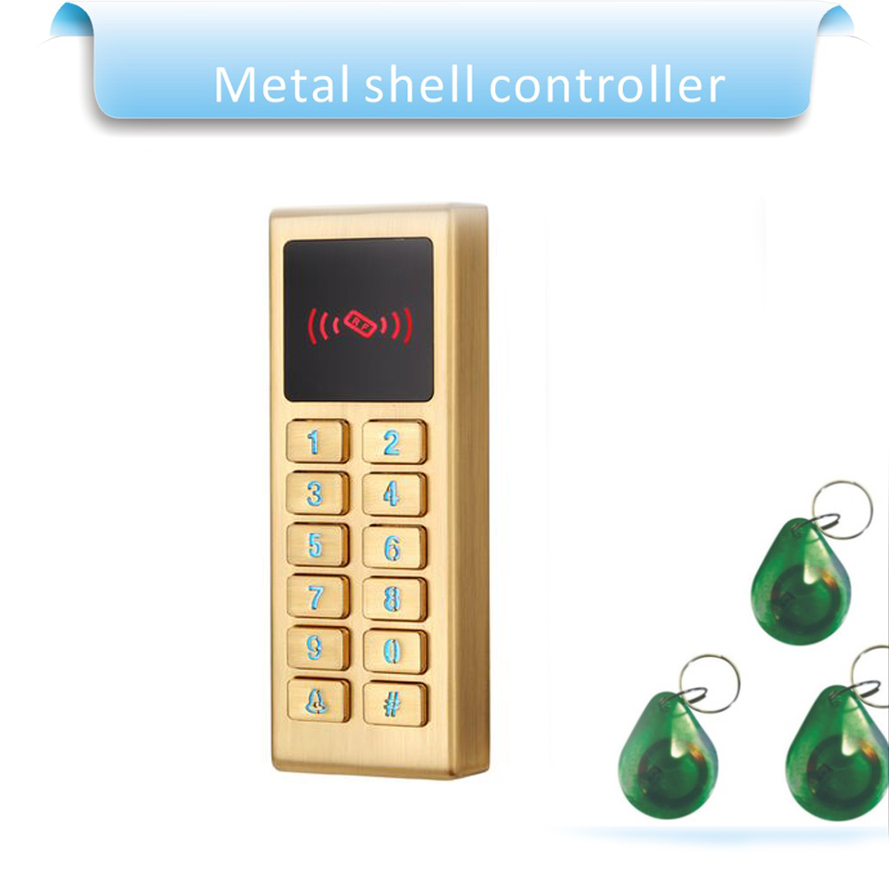 Metal shell touch keyboard 125KHZ RFID access control system/Entrance guard password and RFID+10pcs crystal keyfob